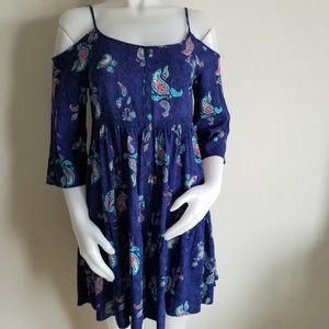 Mudd sz 16 blue paisley cold shoulder tunic/dress